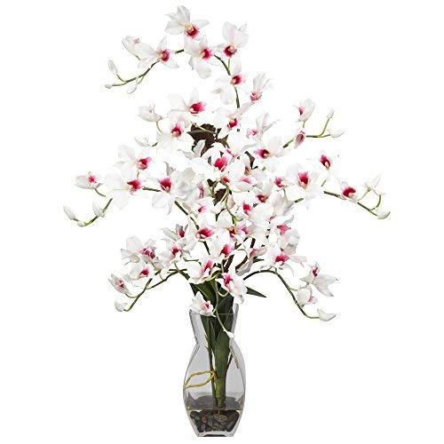 SKB Family Dendrobium W/Vase Silk Flower Arrangement Natural White Flower Home Decor ()