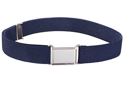 Kids Elastic Adjustable Strech Belt With Silver Square Buckle - Navy Blue