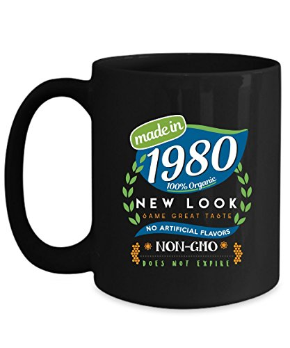 Funny Birthday Mug - Made in 1980 Organic New Look Same Great Taste No Artificial Flavors - Home Office Coffee Cup Gift Idea -