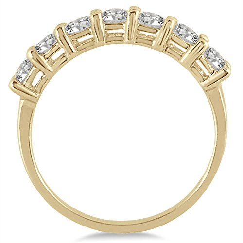AGS-Certified-1-Carat-TW-Seven-Stone-Diamond-Wedding-Band-in-14K-Yellow-Gold-K-L-Color-I2-I3-Clarity