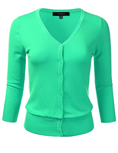 FLORIA Womens Button Down 3/4 Sleeve V-Neck Stretch Knit Cardigan Sweater Opal 3XL (3/4 Collarless Sleeve)