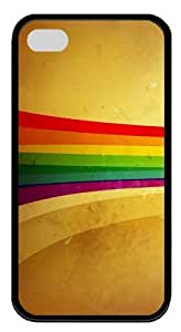 Grunge Rainbow strip TPU Case Cover Protector Compatible with iPhone 4/4S Black