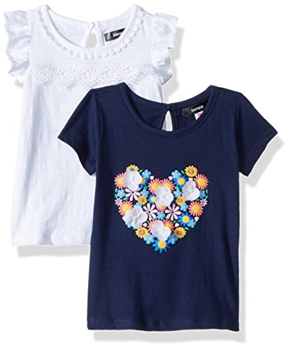 kensie Girls' Toddler 2 T-Shirt, Pack Flower Heart with Solid Multi Print, ()