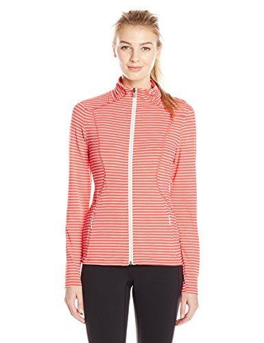 LOLE Women's Essential Cardigan with Stripes and Reflective Logo XX-Small Campari Biscotti Stripe [並行輸入品]