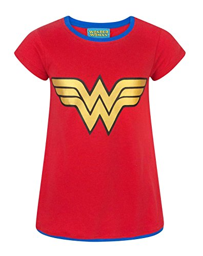 DC Comics Wonder Woman Metallic Logo Girl's T-Shirt (9-10 Years) -