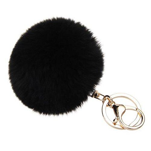 Midress Large Genuine Rabbit Fur Pom Pom Keychain Bag Charm Gold Ring Fluffy Fur Ball,Handbag Car Cell Phone Pendant Decor Ornament -
