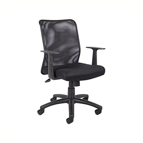 Boss Office Products B6106 Budget Mesh Task Chair with Arms in Black (Office Guest Seat)