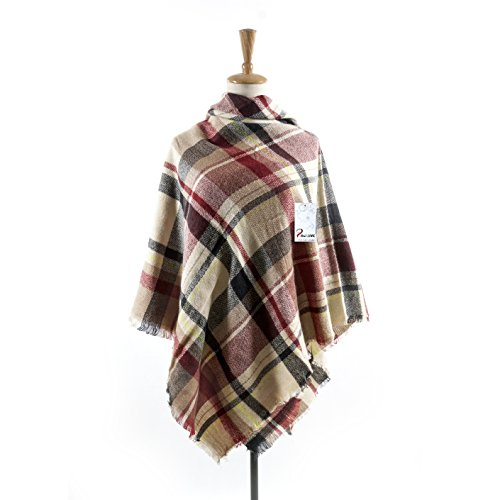 Women's Cozy Tartan Blanket Scarf Wrap Shawl Neck Stole Warm Plaid Checked Pashmina (purple Beige)