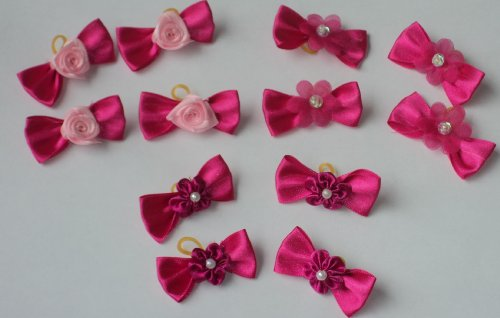 50 Dog Hair Bows – Hot Pink Satin Bows with Flower/Roses/Pearls – Groomer's Choice Handmade, My Pet Supplies