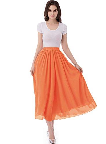 emondora Women's Retro Chiffon Skirts Long A-line Pleated Beach Maxi Skirt Orange Size XL