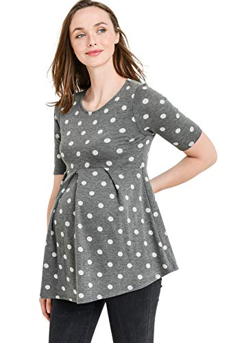 LaClef Women's Round Neck Front Pleat Peplum Polka Dot Maternity Top (Charcoal/Gray Dot, ()
