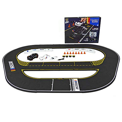 Modarri NASCAR Toy Car Speedway Trackset Bundle | Toy Race Car Track Building System | Build a Car Included Soft Eva Foam | 13 Track Pieces, 16 Driving Accessories, and 18 car Pieces in one Pack!