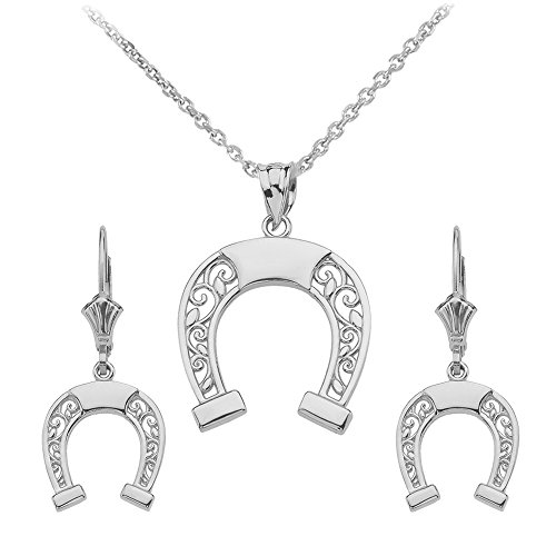 925 Sterling Silver Horseshoe Filigree-Style Necklace and Leverback Earrings, ()