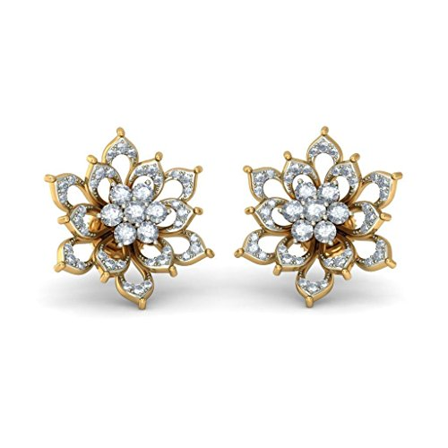 14 K Or jaune 0,93 CT TW White-diamond (IJ | SI) Boucles d'oreille à tige