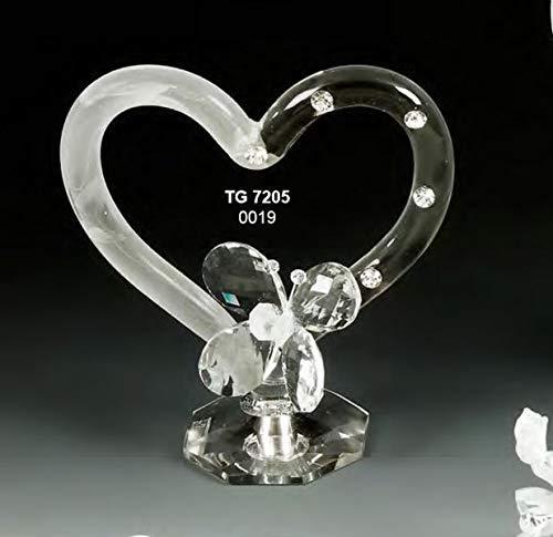 Corazón Pequeño con Mariposa en Cristal de 17cm en Caja Regalo
