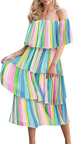 ETCYY Women's Off The Shoulder Maxi Dress Chiffon Ruffles Tiered Pleated Casual Midi Dress Multi Color (Dress Multi Tiered)