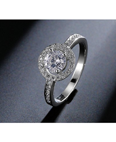 Top Quality Cubic Zirconia Halo Engagement Ring For Women(Size-UK-M)