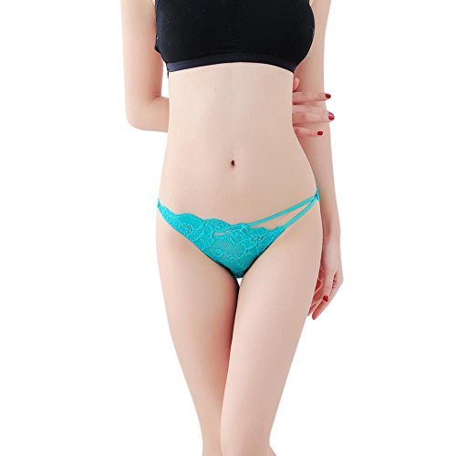 Bornbayb Women's Lace Low-Rise Thong Panty Soft Hipster Underwear Brief Strappy Panties