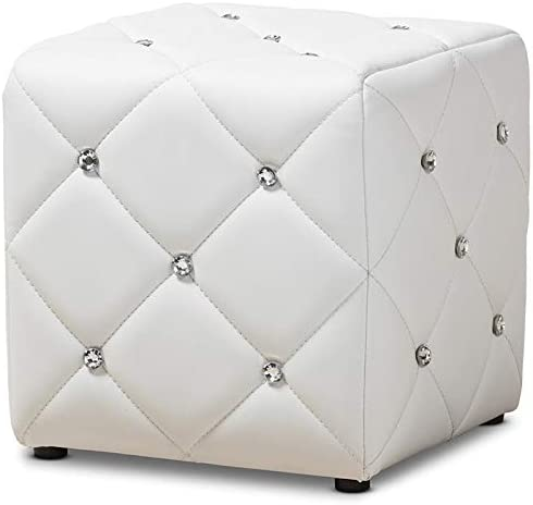 Baxton Studio Stacey 14 Square Faux Leather Ottoman in White