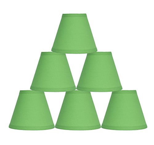 "Urbanest Set of 6 Bright Green Cotton Chandelier Lamp Shade, 3x6x5"", Hardback, Clip On"