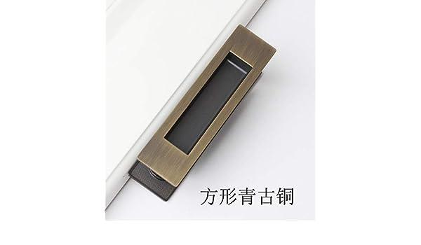 ZTZT Tirador de la puerta corredera tiradores integrados en línea puerta oculta puerta corredera de madera oculta invisible, cuadrada verde bronce: Amazon.es: Bricolaje y herramientas