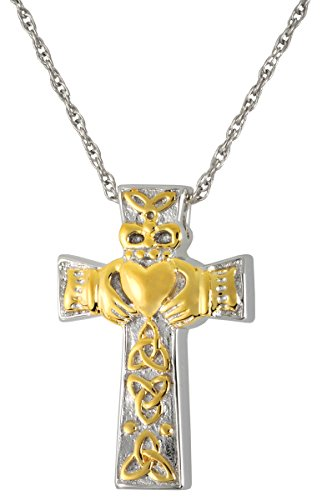 Cremation Memorial Jewelry: Sterling Silver Claddagh Cross