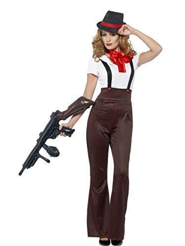 4 PC Gangster Mob Wife Top & Suspender Pinstripe Pants w/Accessories Costume -