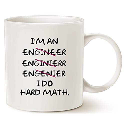 MAUAG Christmas Gifts Funny Coffee Mugs Wrong I'm an Engineer, I Do Hard Math Best Motivational And Inspirational Gifts, White 11 Oz