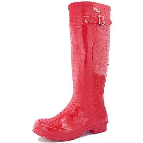 DailyShoes Women's Knee High Round Toe Rain Boots Red