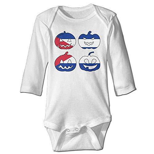 Infant Baby Girls Boys Long Sleeve Jumpsuit, Cute Cuba Halloween Pumpkin Head Cotton Onesies