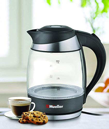 Mueller Ultra SpeedBoil Cordless Electric Kettle Glass Tea, Coffee Pot 1.8 Liter Cordless With