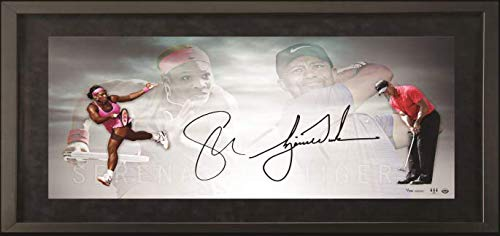 (TIGER WOODS & SERENA WILLIAMS Dual Signed 36 x 18 Framed Photo UDA Limited Edition of 100)