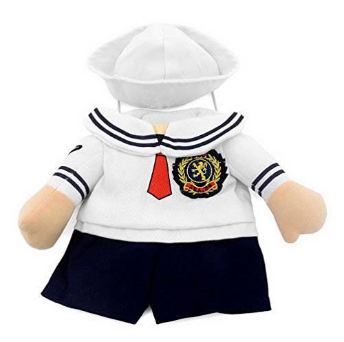 SMALLLEE_LUCKY_STORE Small Dog Clothes for Girls Boys Cat Dog Sailor Costume with Hat Navy All Seasons, Medium, White ()