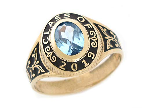 10k Gold Simulated March Birthstone CZ 2019 Class Graduation Ring - Mens Class Rings