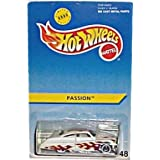 Hot Wheels - M&D Toys - Limited Edition (8000) - Passion - Collector #48. 1:64 Scale Car Replica. Metalflake White with Dark Red & Gold Flame Graphics. 5-Spoke Wheel Hubs w/Whitewall Tires.