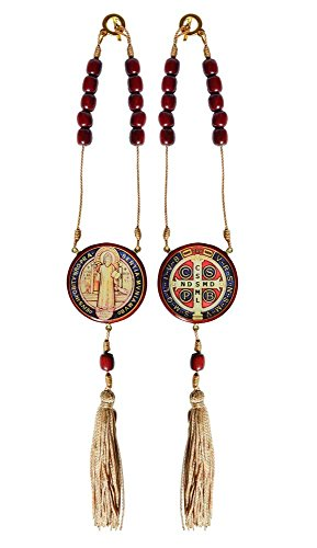 Catholica Shop Catholic Religious Saint Benedict Medal Decade Rosary For Car or Home Protection - Made in Brazil - 11 - Cherry Brazilian Jatoba
