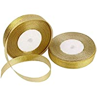 DNHCLL 2 Rolls 25 Yard 0.24inch/0.6cm Wide Glitter Metallic Sparkle Ribbon Curling Ribbon for Gift Crafters Home Decoration Projects, Wedding, Christmas Decoration, Gift Wrap (Gold)