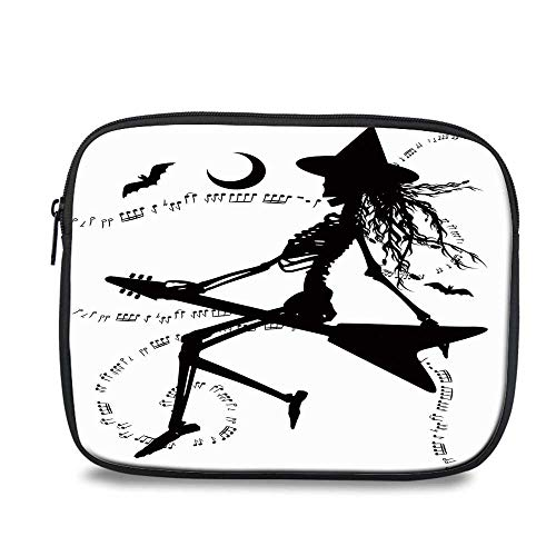 Music Durable iPad Bag,Witch Flying on Electric Guitar Notes Bat Magical Halloween Artistic Illustration for iPad,10.6