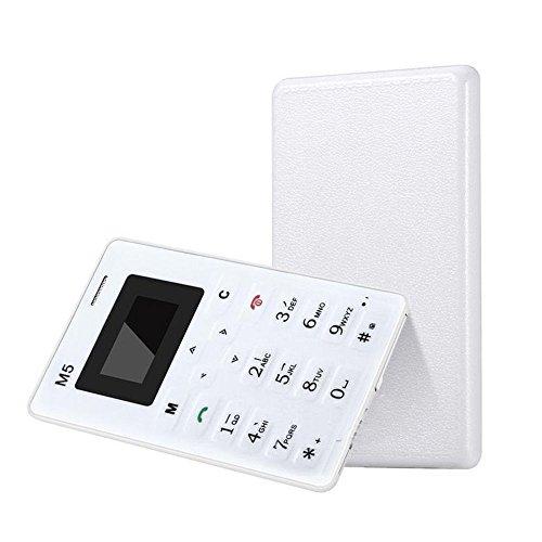 elegantstunning Mini Móvil Telefono Delgado Tarjeta Despertador 128M gsm Niños Blanco