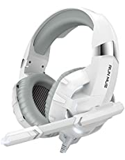 RUNMUS Gaming Headset Xbox One Headset PS4 Headset with Noise Canceling Mic & LED Light, Compatible with PC, PS4, PS5, Xbox One Controller(Adapter Needed), White