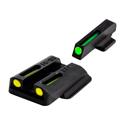 TRUGLO TFO Tritium and Fiber-Optic Handgun Sights for Ruger Pistols, Ruger LC9 / 9S / 380, Green Front, Yellow Rear (Best Handgun Sights For Old Eyes)