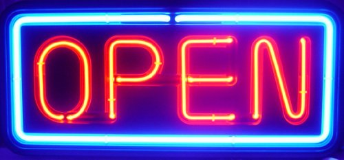 RECTANGULAR REAL GLASS BRIGHT NEON OPEN SIGN / LIGHT - NOT LED OPEN SIGNS - VIVID BRIGHT COLOR BIG FOR SHOP STORE BAR CAFE RESTAURANT BEER SALON - Shops Square Park Mall