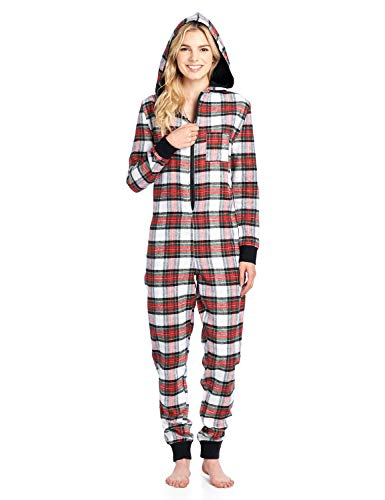 Ashford & Brooks Women's Flannel Hooded One Piece Pajama Union Jumpsuit - Dress Stewart - 4X-Large -