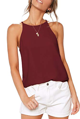 ZJCT Womens Shirts Halter Neck Tank Top Summer Casual Basic Tee Shirts Racerback Workout Tops Loose Fit Sleeveless Beach Cami Tanks Tops Burgundy S ()
