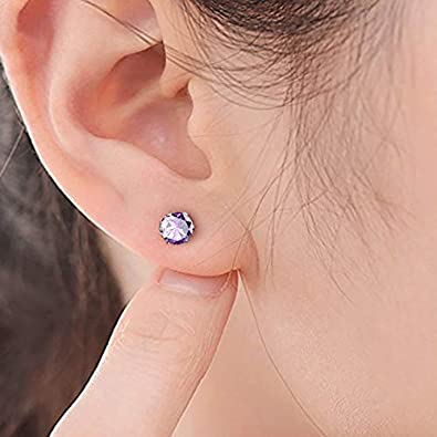 UHIBROS Stainless Steel Stud Earrings Cubic Zirconia Multicolor Set 18K White Gold Pated 8 Pairs Multi-Color