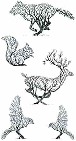 4e01723ff3a55 Set of 5 Waterproof Temporary Fake Tattoo Stickers Unique Creative Grey  Birds Elk Squirrel Design Body