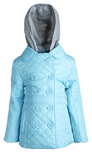[Urban Republic Girls Padded Quilted Spring Rain Jacket with Detachable Hood - Mint Blue (Size 5/6)] (Vinyl Cat Hood)