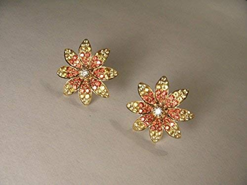 Estate 14K Yellow Gold Diamond Red Sapphire Flower Stud Earrings -