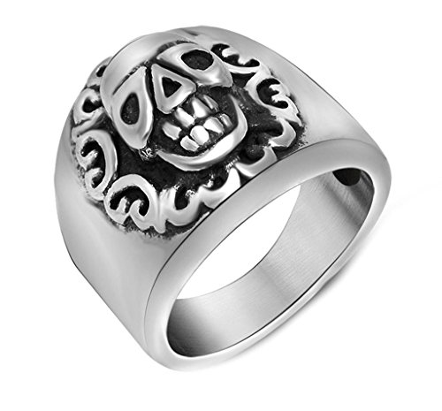 Men's Stainless Steel Ring Vintage Retro Unique Pattern Wides Skull Head Band Ring Silver Size - Mcqueen Alexander Outlet