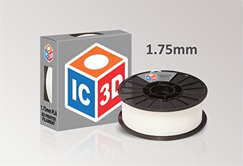 IC3D White 1.75mm PLA 3D Printer Filament - 2lb Spool - Dimensional Accuracy +/- 0.05mm - Professional Grade 3D Printing Filament - MADE IN USA by IC3D